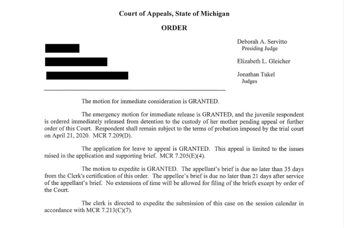 The court order granting Grace's immediate release.