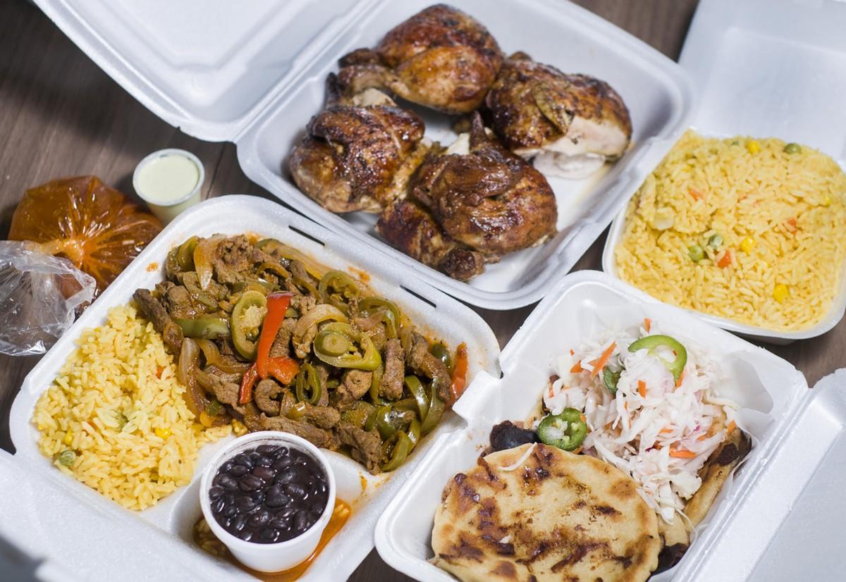 From top, counterclockwise: Rotisserie chicken, carne al jalapeño, pupusas.