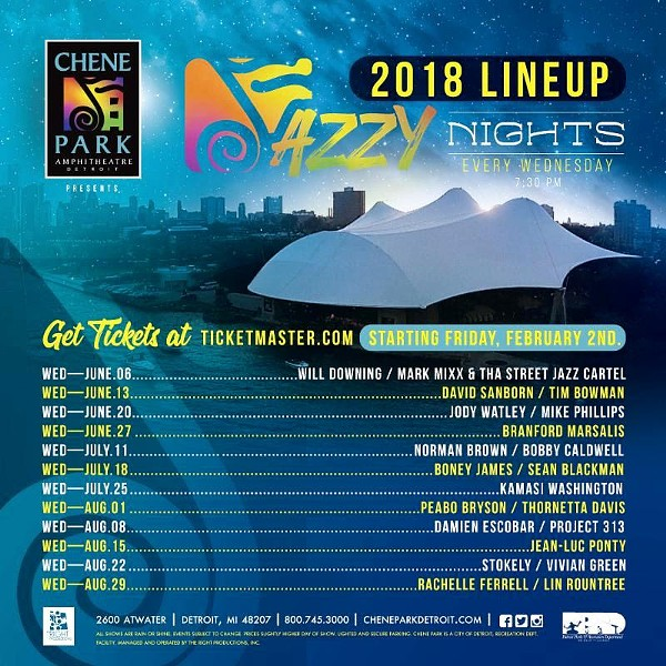 The Jazzy Nights 2018 lineup at Chene Park. - COURTESY PHOTO