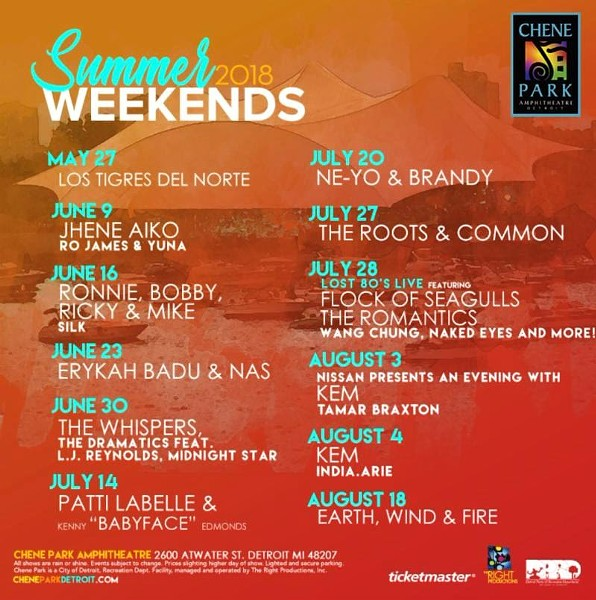 The Summer Weekends 2018 lineup from Chene Park. - COURTESY PHOTO