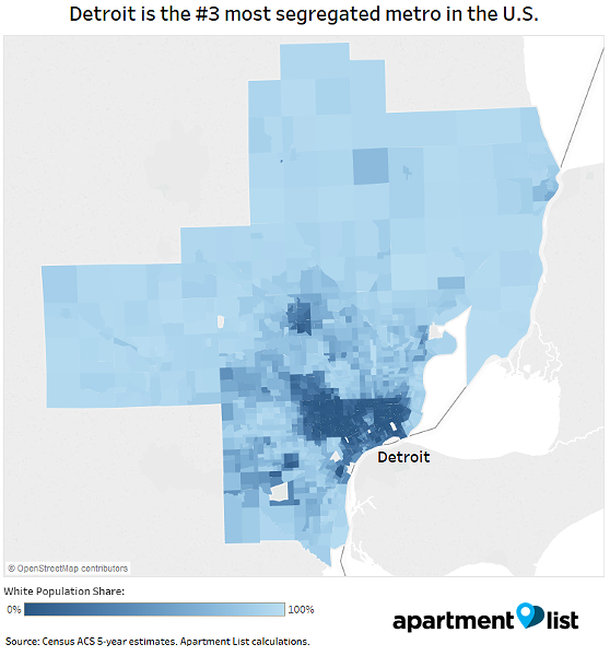 Apartment List researcher Chris Salviati renders metro Detroit segregation in map form. - COURTESY APARTMENT LIST