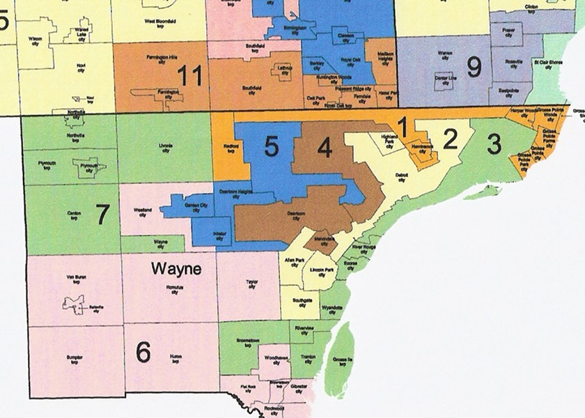 MAP OF THE MICHIGAN HOUSE'S GERRYMANDERED DISTRICTS IN SOUTHEASTERN MICHIGAN.