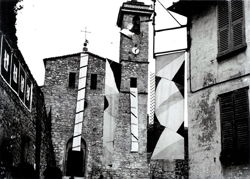 """View of works by Patrick Saytour, Daniel Dezueze, and Claude Viallat in the streets of Coarse, for """"Poetic Encounters"""", July 21-27, 1969. - COURTESY PHOTO"""