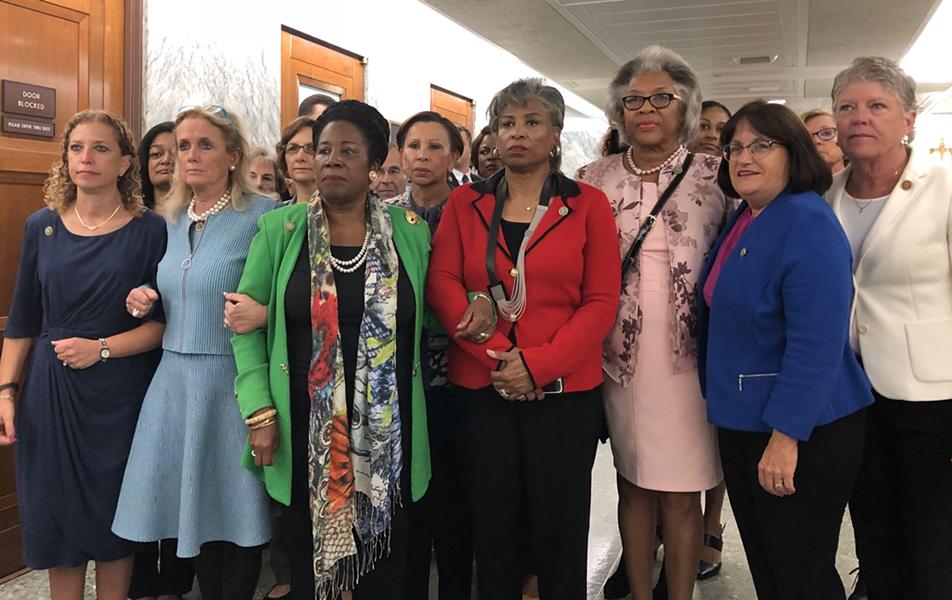 From left: US Representatives Debbie Wasserman-Shultz, Debbie Dingle (MI), Shelia Jackson Lee,  Brenda Lawrence (MI), Joyce Beatty, Anne Kuster, and Julia Brownley - BRENDA LAWRENCE/TWITTER