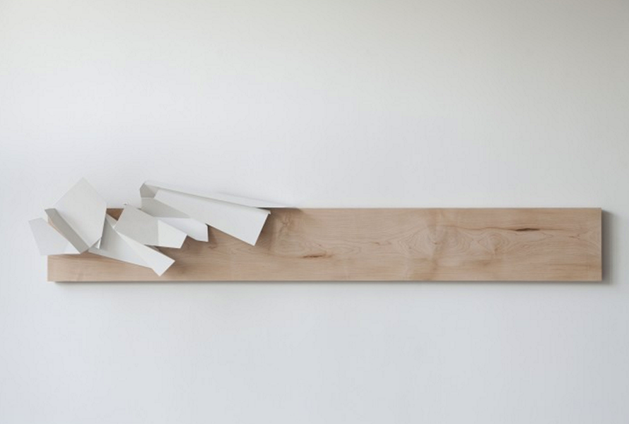 """the other night, dear... - hard maple, steel & paint. - 8' x 14"""" x 6' - PHOTO PROVIDED BY ARTIST"""