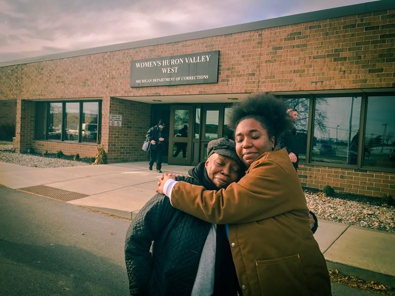 Siwatu Salama-Ra and her mom, Rhonda Anderson, outside of the prison. - SIWATU FREEDOM TEAM