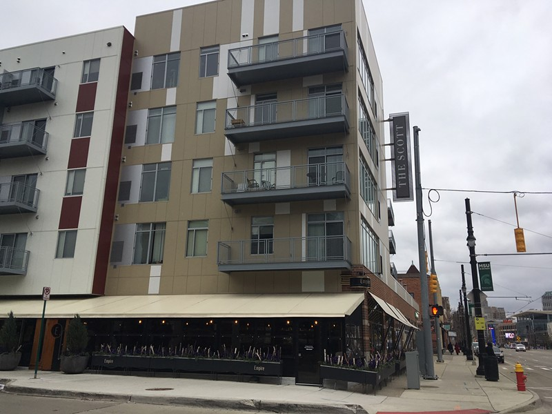 The Scott at Brush Park apartment complex located on Woodward Ave. - LEE DEVITO