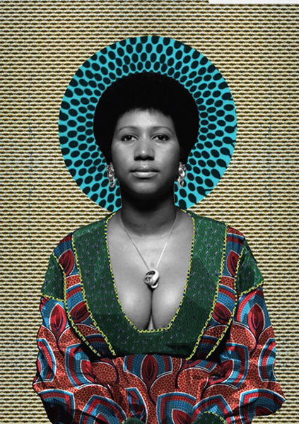 Aretha Franklin portrait by Makeba Rainey - COURTESY OF IRWIN HOUSE GALLERY