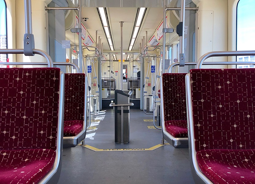An empty QLine interior on a recent weekday. - STEVE NEAVLING