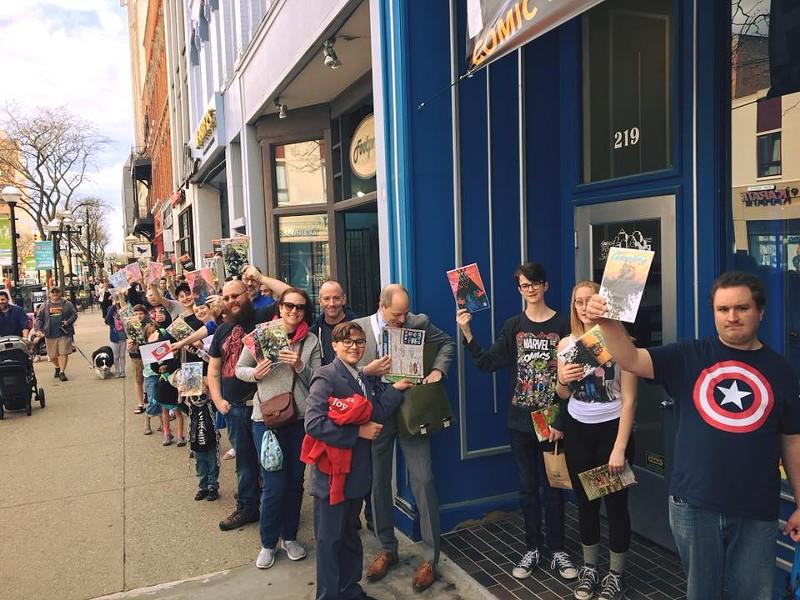 Line outside of Vault of Midnight in Ann Arbor, 2018. - VAULT OF MIDNIGHT FACEBOOK