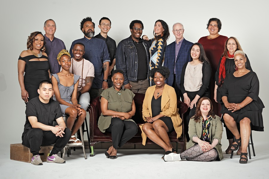 2019 Kresge Artist Fellows, pictured left to right: Front row: Kikko Paradela, Cherise Morris, Nandi Comer, Tyanna Buie, Kristen Gallerneaux, Madelyn Porter; Second row: Anita Bates, Tylonn J. Sawyer, Mariam Ezzat, Alise Alousi; Third row: Tom Stoye, Rashaun Rucker, Jack Cheng, Darryl DeAngelo Terrell, Cybelle Codish, Bill McGraw, Diana J. Nucera - NOAH STEPHENS