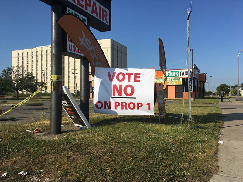 A sign opposing Highland Park's Proposal 1. - LEE DEVITO