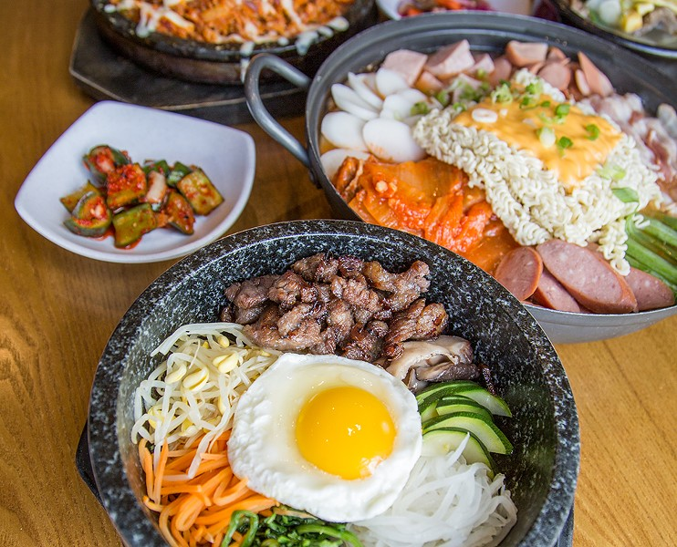 Dishes from JINJI Korean Cuisine & Soju Bar at New Seoul Plaza. - DONTAE ROCKYMORE