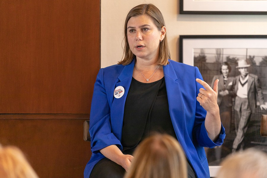 """Rep. Elissa Slotkin worked at the Dept. of Defense. """"It's not an unpatriotic thing to say we're going to cut waste at the Pentagon, and Lord knows there is fat to cut,"""" she says."""