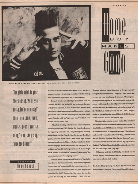 An early article on Kid Rock in Orbit, from Re-Entry: The Orbit Magazine Anthology, out soon on WSU Press. - COURTESY PHOTO
