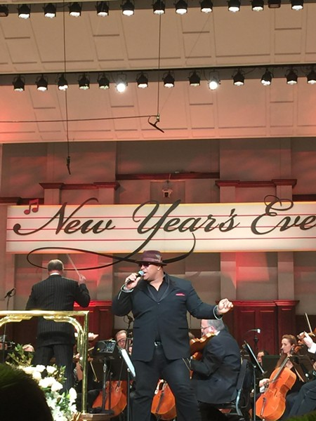 Michael Lynche takes the stage with the Detroit Symphony Orchestra at the New Year's Eve Bash 2016 at the Max M. Fisher Music Center.
