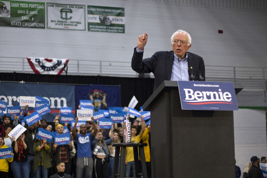 Bernie Sanders at a rally at Detroit's Cass Technical High School in 2019. - STEVE NEAVLING