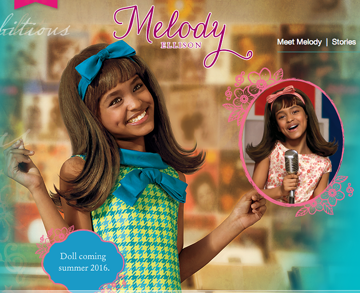 SCREEN CAPTURE OF THE MELODY ELLISON PAGE ON AMERICAN GIRL DOLL'S WEBSITE