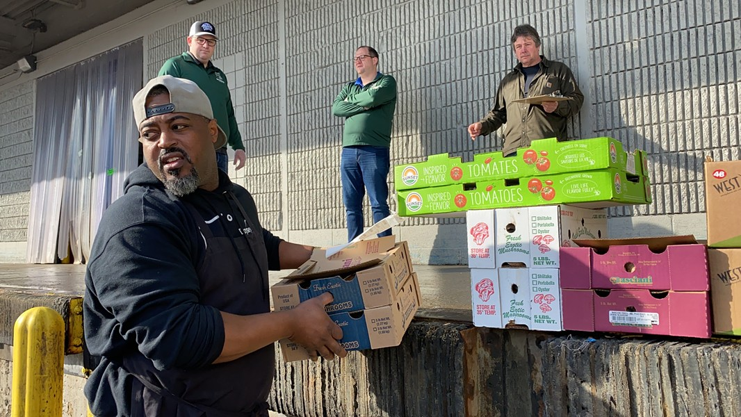 Chef Maxcel Hardy of Detroit's Coop Caribbean Fusion donated perishable food to the homeless and needy when all dine-in restaurants were ordered to close due to the coronavirus. - DAVID RUDOLPH