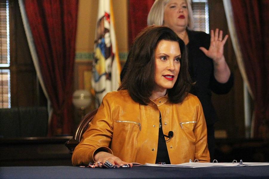 Gov. Gretchen Whitmer at a press conference Monday. - STATE OF MICHIGAN