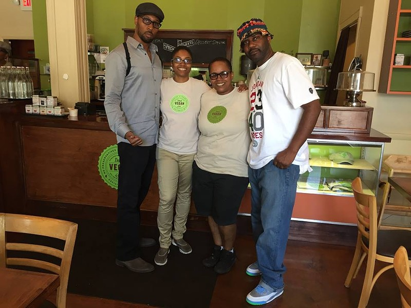 Left to right: rapper RZA, owner Kirsten Ussery Boyd, owner Erika Boyd, and rapper Ghostface Killah. - PHOTO VIA FACEBOOK: DETROIT VEGAN SOUL