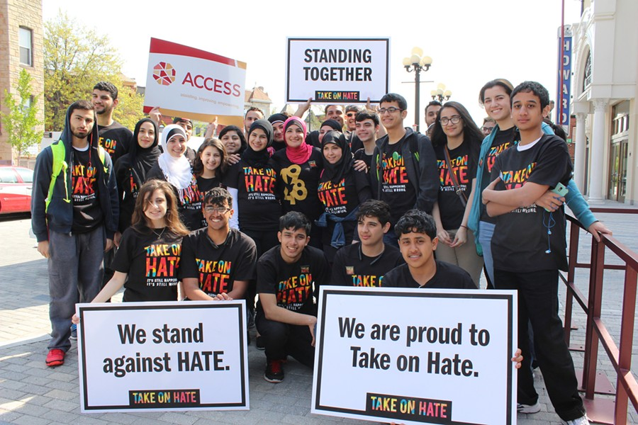 TAKE ON HATE volunteers during a march in Washington DC. The Campaign is a project of the National Network for Arab American Communities (NNAAC), one of ACCESS' three national programs.
