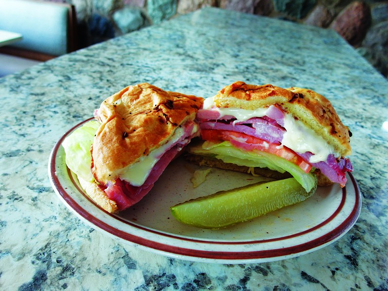 "THE ""STACKED HAM SANDWICH"" FROM JOHNNY'S HAM KING. 