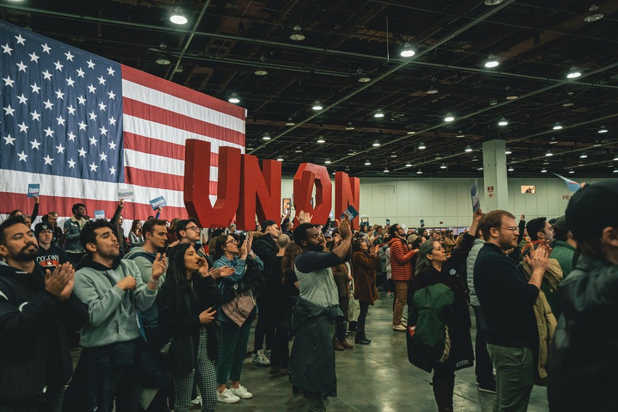 Thousands of people attended a rally for presidential candidate Bernie Sanders at Detroit's TCF Center on Friday, March 6. Within weeks, the center was transformed into a field hospital for COVID-19 patients. - JOHN SIPPEL