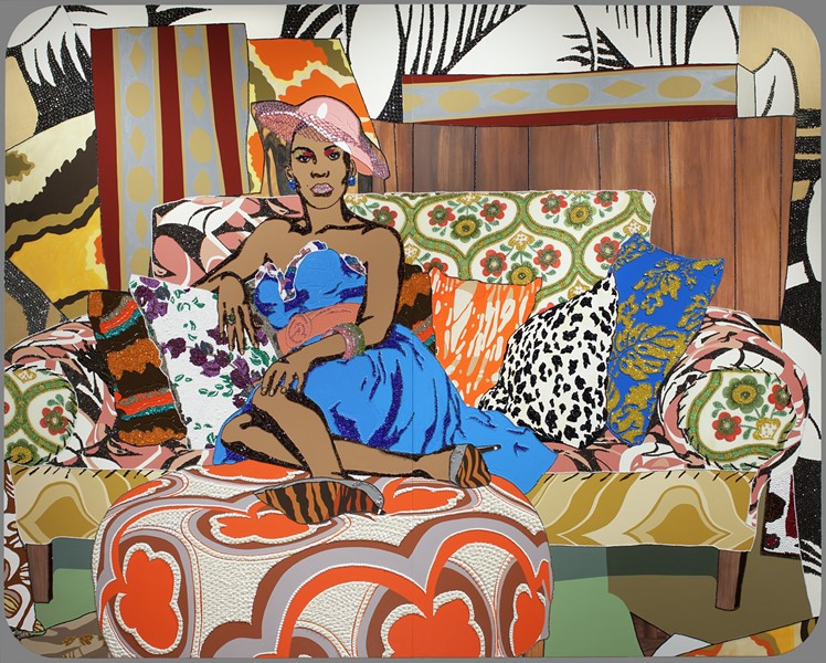 """Something You Can Feel,"" Mickalene Thomas, 2008, rhinestone, acrylic paint, and oil enamel on wood panels. Detroit Institute of Arts."