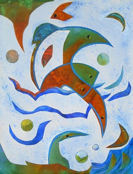 "Eloise Hirlemann's ""Developing Sea Creatures"" – mixed media. - COURTESY NORTHVILLE ART HOUSE"