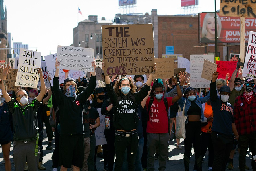 Protesters gathered in Detroit on Sunday for the third straight day of demonstrations. - STEVE NEAVLING