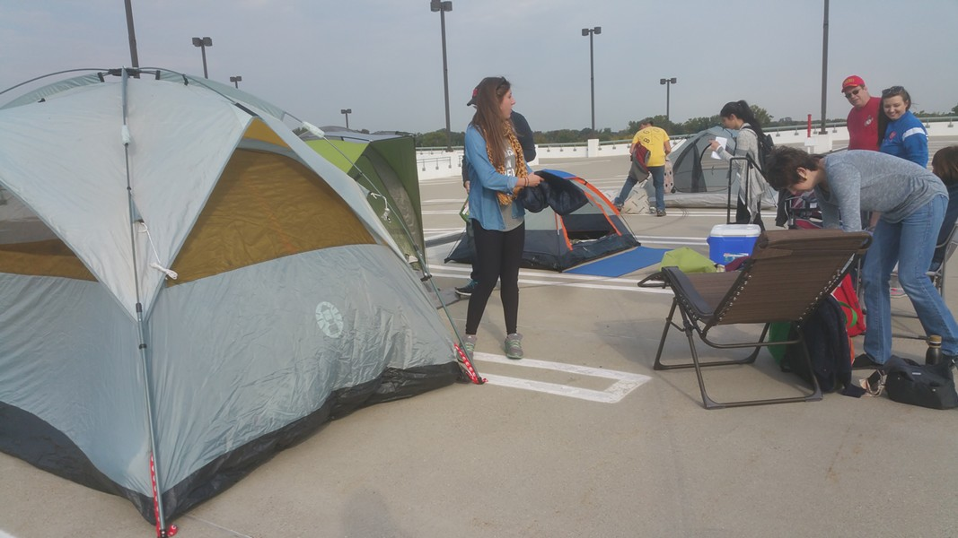 The first die-hard Chick-fil-A fans are setting up camp in a parking lot outside of Somerset Collection North in Troy. - COURTESY OF CP COMMUNICATIONS