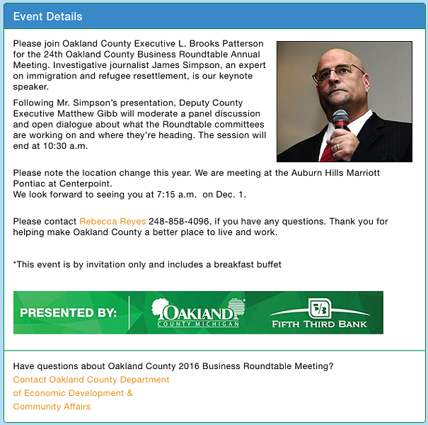 Screen capture from Oakland County 2016 Business Roundtable Meeting's eventbrite page.