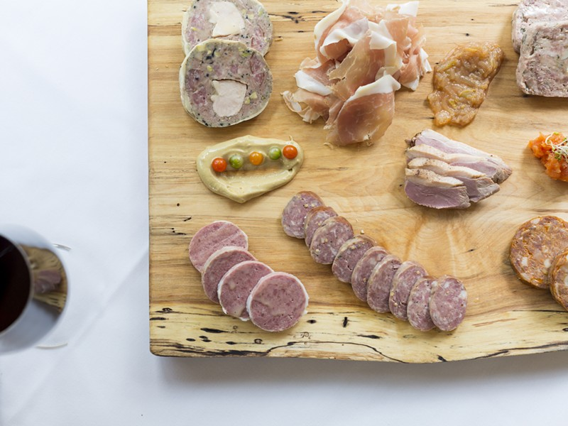 Charcuterie board from Paul Grosz of Cuisine in Detroit. - PHOTO BY JACOB LEWKOW.