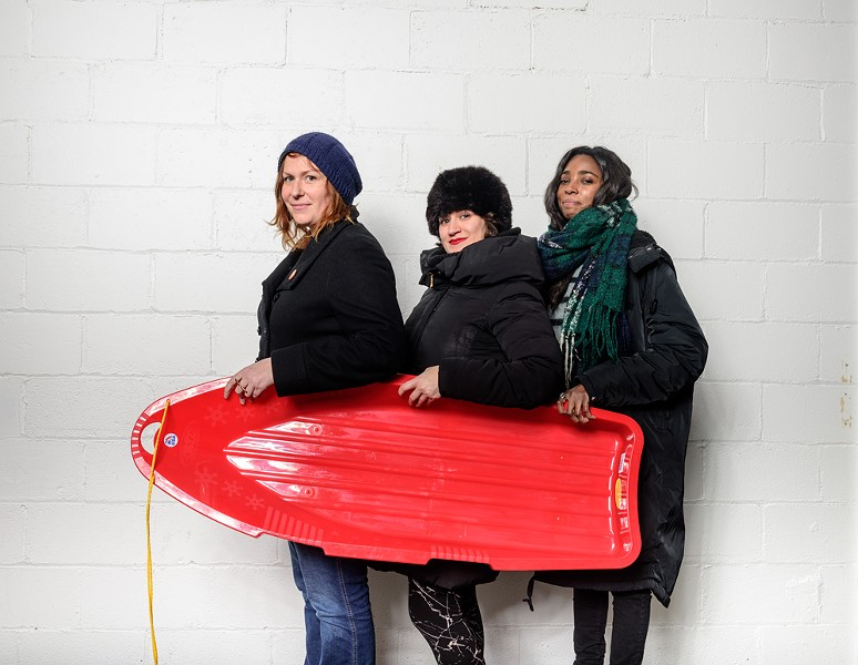 Casual Sweetheart: Erin Norris, Lauren Rossi, and Dina Bankole - PHOTO BY DOUG COOMBE