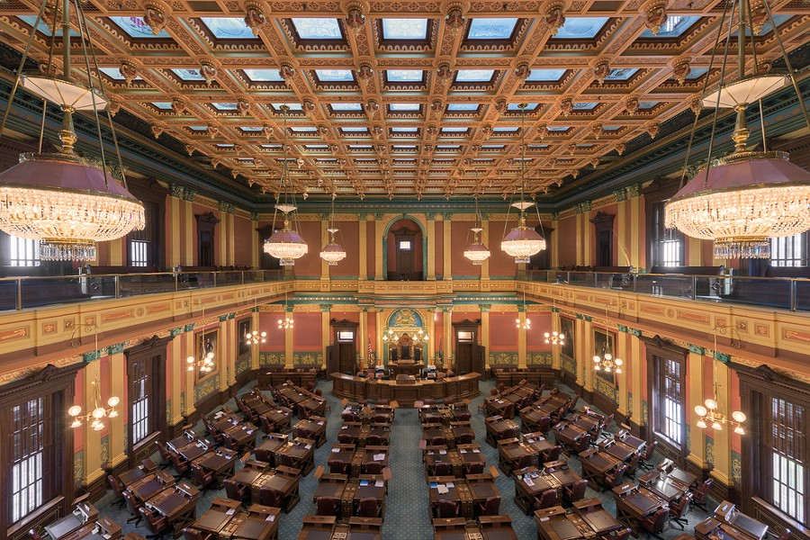 House of Representatives chamber inside the Michigan State Capitol building. - SHUTTERSTOCK.COM