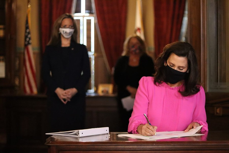 Gov. Gretchen Whitmer signs bill to give clerks more time to process absentee ballots. - GOVERNOR'S OFFICE