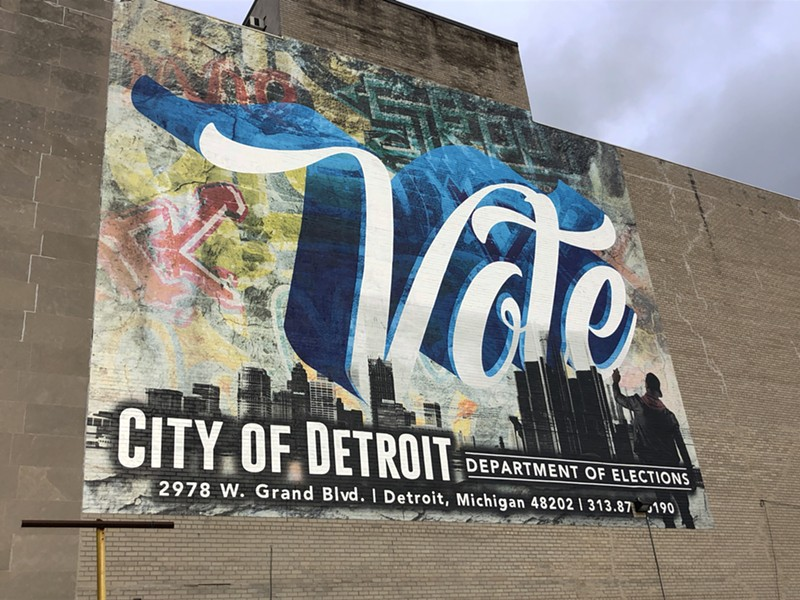 A mural on a voting location in New Center in Detroit. - STEVE NEAVLING