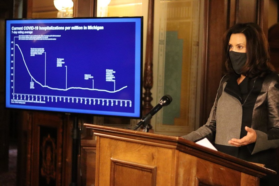 Gov. Whitmer shows an uptick in COVID-19 hospitalizations following the Michigan Supreme Court ruling against her emergency powers. - STATE OF MICHIGAN
