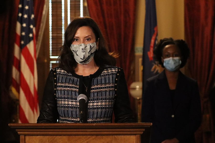 Gov. Gretchen Whitmer at a news conference Thursday. - STATE OF MICHIGAN