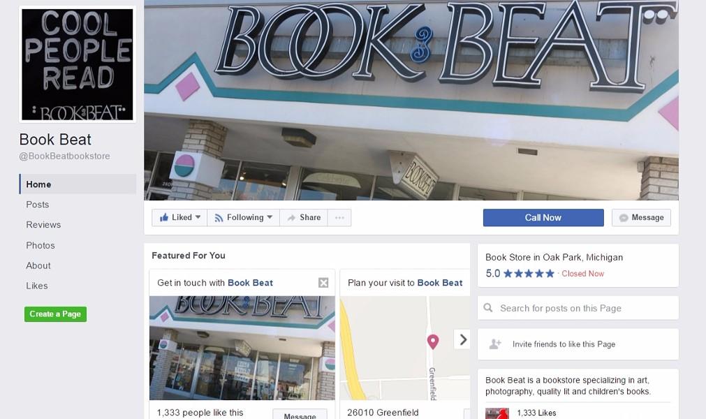 THE NEW FACEBOOK PAGE IS: FACEBOOK.COM/BOOKBEATBOOKSTORE.