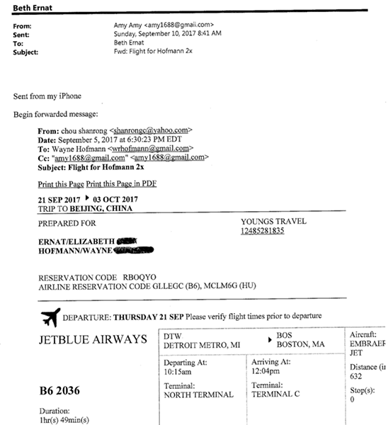 Email records that show that the travel agent sent the tickets to the developer on Sept. 5. The developer then sent them to Ernat on Sept. 10. Ernat claims the tickets were purchased on Sept. 10, and that she thought they came from the CSSA. - CITY OF YPSILANTI