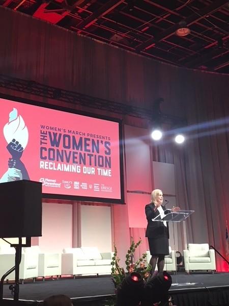 Senator Kirsten Gillibrand speaks at The Women's Convention in Detroit. - SARA BARRON