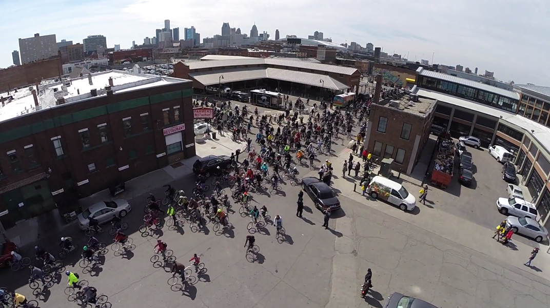 Slow Roll cyclists take over Detroit's Eastern Market - PHOTO COURTESY MOTOR CITY DRONE CO.