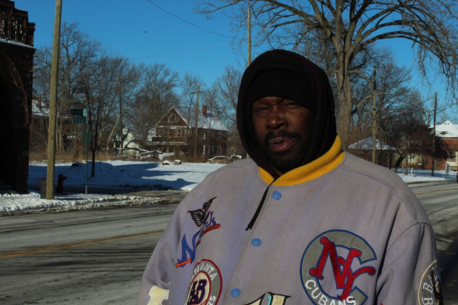 Lawrence Cole, a homeless man from Detroit, says he sleeps in a vacant house under a pile of coats to keep warm. - JACK NISSEN