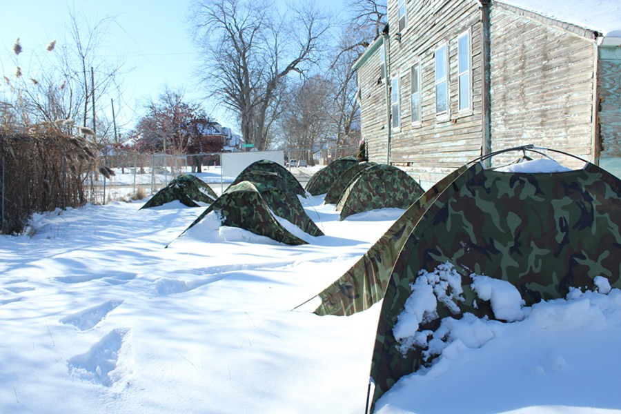 Empty tents at Resurrection City on Mt. Elliot St. The area's 25 homeless have migrated indoors for winter. - JACK NISSEN