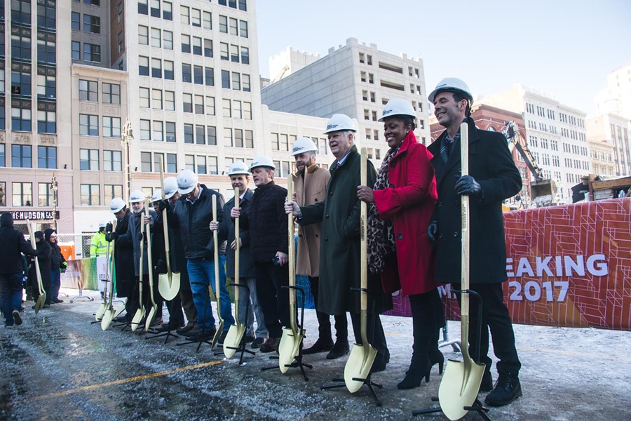 Gilbert and Detroit city officials during the ceremonial groundbreaking for the Hudson site project. - JORDAN BUZZY