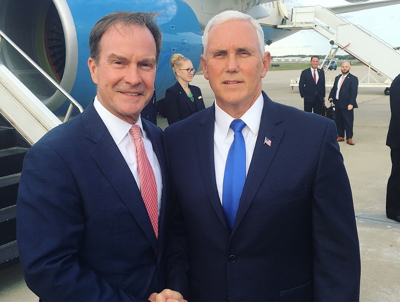 Michigan Attorney General Bill Schuette poses with Vice President Mike Pence. - COURTESY PHOTO