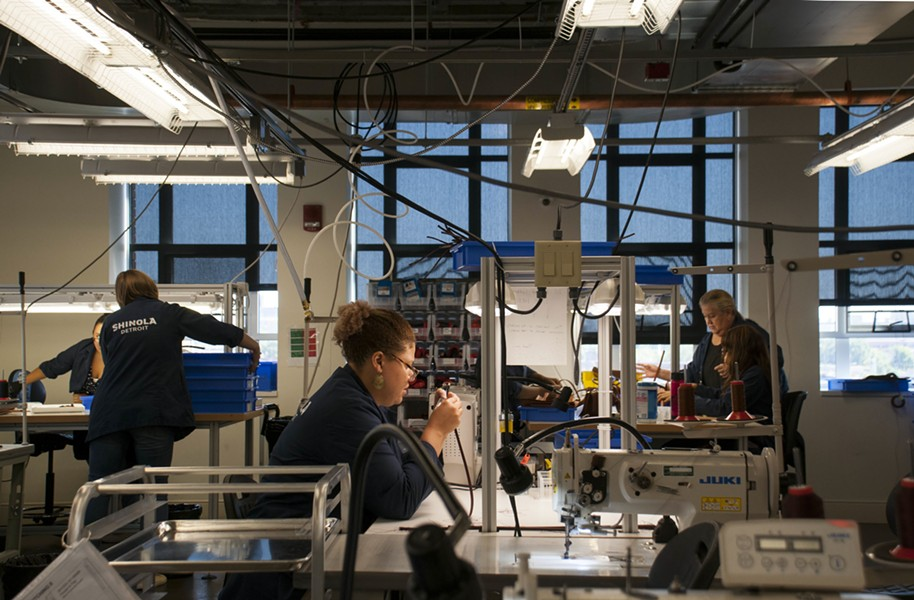 Employees at Shinola's New Center leather factory, located in a former GM design lab. - PHOTO BY TOM PERKINS