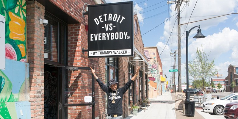 Tommey Walker at his Detroit vs. Everybody shop in Eastern Market.